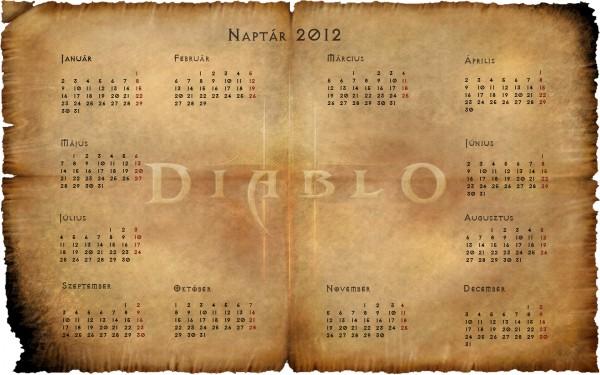 2012 Diablo 3 naptár normál